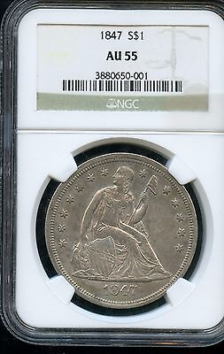 Amazing 1847 NGC AU55 Liberty Seated $1 Dollar Coin 90% Silver EM917
