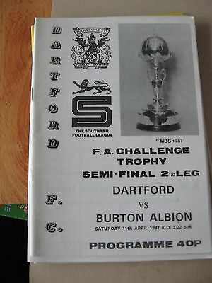 1987 FA Trophy Semi Final 2nd leg Dartford v Burton Albion 11.4.1987