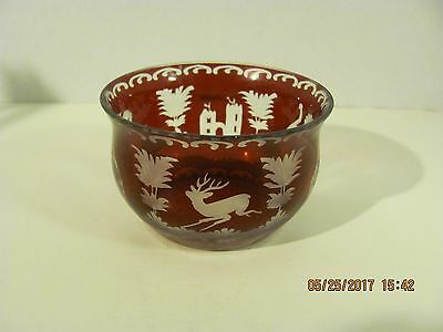 Antique Small Bohemian Glass Finger Bowl