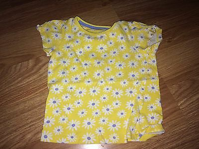 Mothercare Baby Girl 12-18 Months Yellow Short Sleeved Top (Ex Cond)