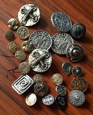 Assorted Set Of Vintage Metal And Metal Effect  Buttons