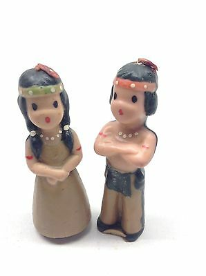 Vintage Gurley Thanksgiving American Indians Boy And Girl Candles Unused