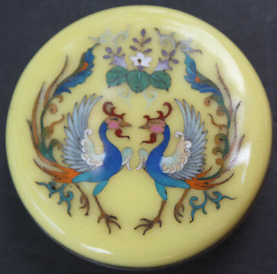 Signed Japanese Cloisonné Round Lidded Box with Phoenix Birds, Imperial yellow
