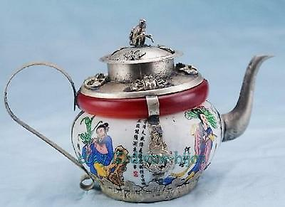 Chinese Eight Immortals patterns Tibet silver carved dragon porcelain teapot
