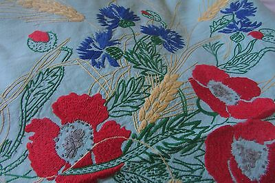 Heavily Embroidered Antique French Huge Fine Cotton Tablecloth+12 Napkins 5X8Ft