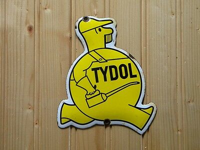 "TYDOL OLD PORCELAIN SIGN ~5-1/2"" x 4-3/4"" GAS STATION OIL PUMP LUBE ADVERTISING"