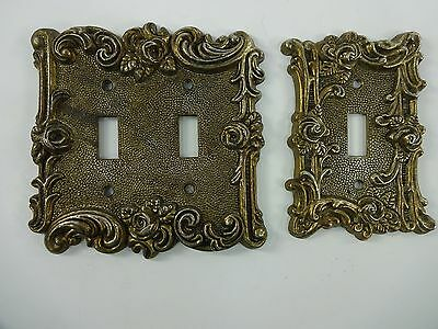 2 Piece Vintage 1967 American Tack & Hardware Brass Switch Plates Floral Qty. 2