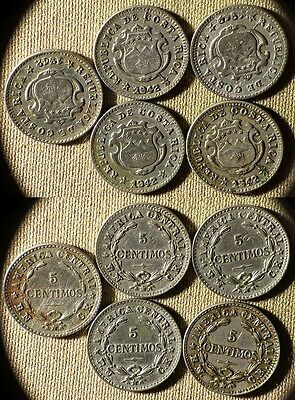 Costa Rica:5 Coins 1942 5 Ct/2Ct  2Ct Clearly Sean;Flipover Obv/Rev #178  IR6992