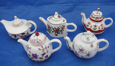 Collection of Five Miniature Teapots all with Pretty Floral Designs