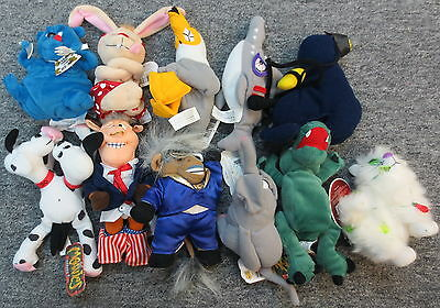 Lot of 11 Meanies Plush Series 1-3 w/ Holiday (Bull Clinton Chubby Blinky)