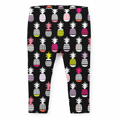Kids Full Length Leggings - Neon Pineapples