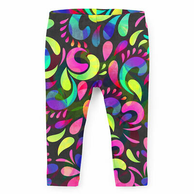 Kids Full Length Leggings - Neon Watercolor Swirls