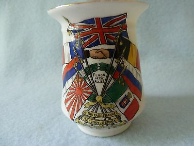 Goss 1St W.w. Crested China Pot Flags Of The Allies