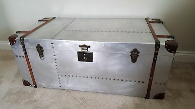 Extra Large Aviator Vintage / Retro Style Metal & Wood Trunk COFFEE TABLE CHEST