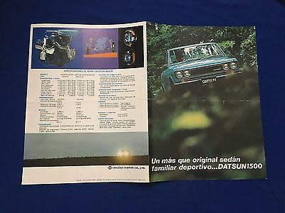 Vintage 1970's Datsun 1500 Brochure Spanish Text Printed In Japan