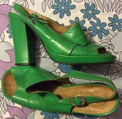 vintage 70s green leather slingback open toe platform high heel sandals shoes 4