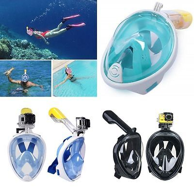 Swimming Sea Diving Full Face Snorkel Scuba Anti-Fog Mask Surface For GoPro