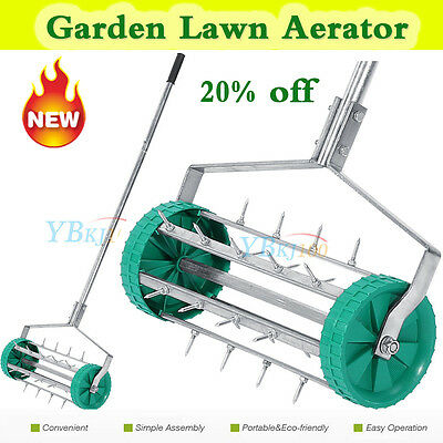 Heavy Duty Rolling Grass Lawn Aerator Roller & Aluminium Handle Farm Field Using