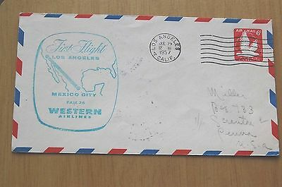 Western Airlines First Flight Los Angeles - Mexico City Flown 1957 USA Cover