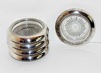 "5 VINTAGE BEADED STERLING SILVER RIM GLASS WINE COASTERS by SABEN 4"" Sunburst"