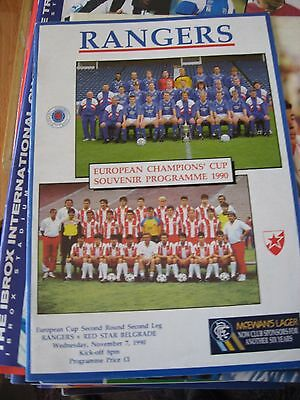 1990-91 Rangers v Red Star Belgrade European Cup 2nd round 2md leg 7.11.1990