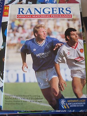 1990-91 Rangers v Valletta European Cup 1st round 2nd leg 2.10.1990