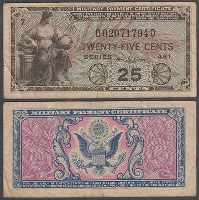 1951 series 481 Military Payment Certificate 25 Cents