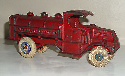 1930's Cast Iron Champion Gas And Motor Oil Mack Truck - 8 Inches Long