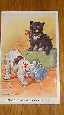 Florence Valter Comic Postcard: Lucky Black Cat & Fox terrier Dog Humour