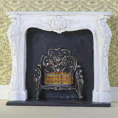 "1/12 Scale Dolls House White ""rococo Style"" Fireplace With Fire"