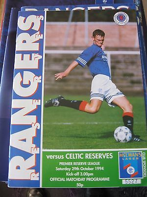 1994-95 Rangers v Celtic Reserves Scottish Premier Reserve League 29.10.1994