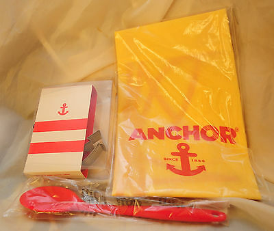 New Anchor Butter Stainless Steel Cookie Cutter + Apron/pinny + Rubber Spoon
