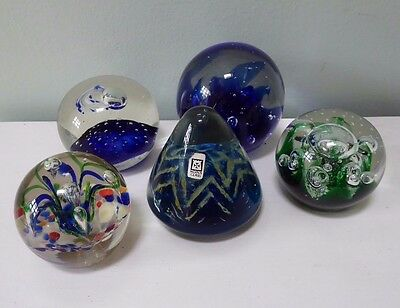 5 large glass paperweights inc 1 Mdina ##MEL67BS