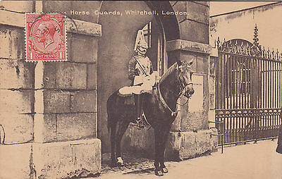 Trooper Household Cavalry Horse Guards Whitehall LONDON UK 1918 M. & L. Postcard