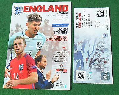 Football Programme plus Ticket>ENGLAND v MALTA Oct 2016 WCQR