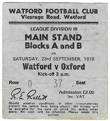 Football Ticket>WATFORD v OXFORD UNITED Sept 1978