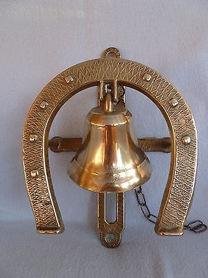 Vintage Brass Horseshoe Pull Chain Door Bell