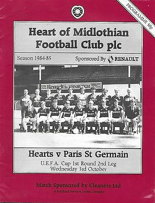 Football Programme>HEARTS v PARIS ST GERMAIN Oct 1984 UEFA CUP PSG