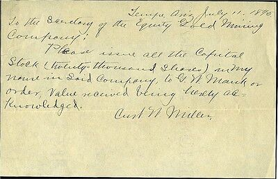 West – Arizona Territory – Tempe – Letter To Gold Mining Co By Curt Miller -1890