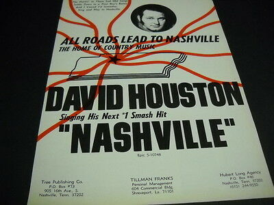 DAVID HOUSTON All Roads Lead To Nashville... his next smash 1971 PROMO POSTER AD