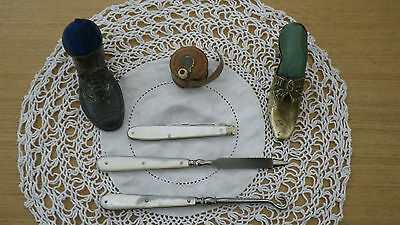 Antique Victorian Mother Pearl Button Hook File 2 Shoe Pincushions Tape Measure