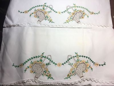 2  Vintage PRETTY Hand Embroidered Flower Baskets Pair Pillowcases Cotton