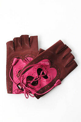 Hermes Pink Red Leather Pull On Fingerless Gloves Size Small In Box