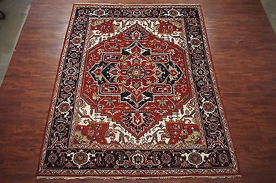 Antiqued 9X12 Serapi Persian Hand-Knotted Veg' Dye Area Rug Wool Oriental Carpet