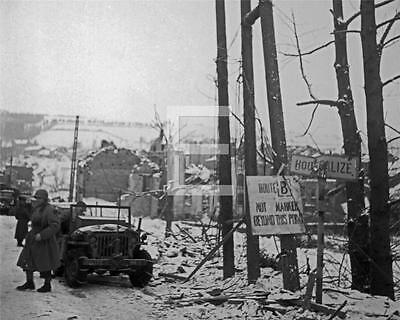 1945 Houffalize Germany US 2nd Armored Division Jeep WWII Photo Fl34