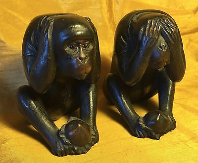 """Pair 3.5"""" Fine Carved Wood SEE-HEAR NO EVIL Monkey Figures Glass Eyes/Inlaid Dot"""