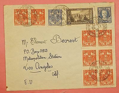 1938 Monaco Multi Franked Cover To Usa