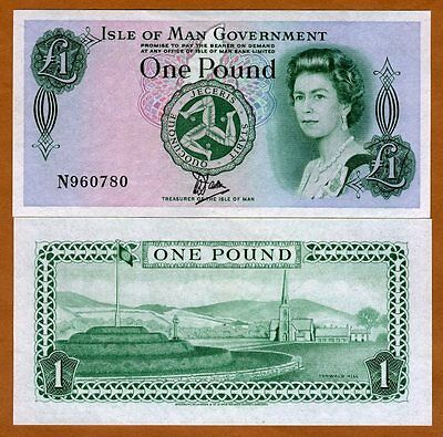 Isle of Man, 1 pound, ND (1983), Pick 38,  QEII, Tyvek/Bradvek Polymer UNC