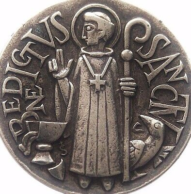 Splendid Vintage Medal Pendant To Saint Benedictus The Holy Father Of Exorcism