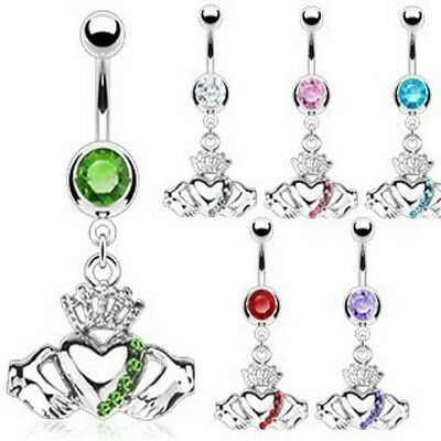 B#69 - 6pc Irish Claddagh w/Crown Belly Rings wholesale Navel Naval